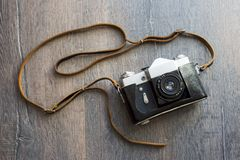 Top view of retro camera Royalty Free Stock Images