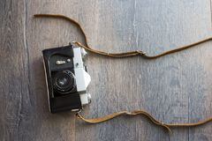 Top view of retro camera Royalty Free Stock Image