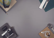 Top view retro office desk hero header Royalty Free Stock Photos