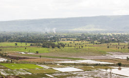 Top view of Rice fields and mountains Stock Image
