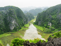 Top view of rice fields and the Ngo Dong River, Vietnam Stock Photography