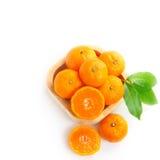 Top view of ripe orange fruits on white Royalty Free Stock Photos