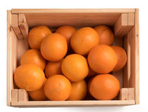 Top view of Ripe sweet tangerines in wooden box Royalty Free Stock Photography