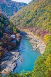 Top view of the river and forest in autumn season at Arashiyama. Kyoto, Japan Stock Image