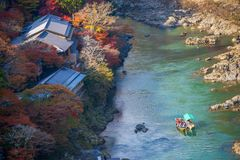 Top view of the river and forest in autumn season at Arashiyama. Kyoto, Japan Stock Images