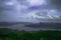 A top view of river from the Maharashtra, india. A natural landscape of river from the top view perspective royalty free stock image