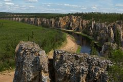 Top view of the river from a rocky shore. Natural Park Siine. Yakutia Stock Image