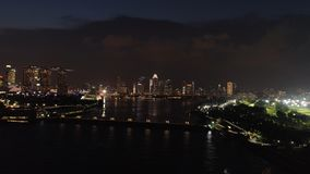 Top view of the river in Singapore at night. Shot. City high view of Singapore financial district and business building stock image
