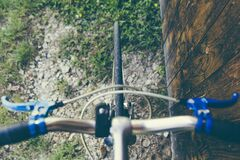 Top View of Road Bicycle Front Tire Stock Photography