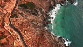 Top view of road at Chapmans Peak Drive stock video footage