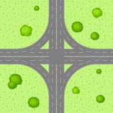 Top view of road junction. Scene with highway and trees in countryside Stock Photos