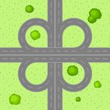 Top view of road junction. Scene with highway and trees in countryside Stock Images