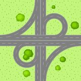 Top view of road junction. Scene with highway and trees in countryside Stock Photo