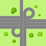 Top view of road junction. Stock Photo