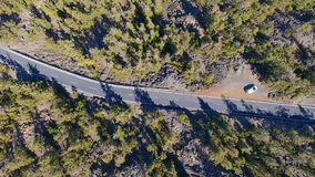 Top view on the road in mountain forest stock video