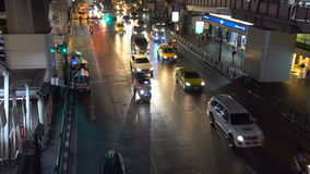 Top View of Road Traffic in the Evening, Bangkok, Thailand - 20 April 2017. Shot with a Sony a6300 fps29,9 4K stock video