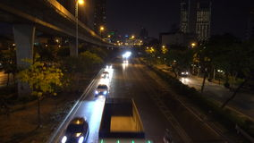 Top View of Road Traffic in the Evening, Bangkok, Thailand. Shot with a Sony a6300 fps29,9 4K stock video footage