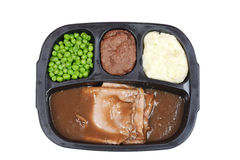 Top view roast beef tv dinner Royalty Free Stock Image