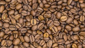 Top of view of roasted coffee beans stock image