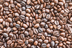 Top view Roasted coffee beans on white Royalty Free Stock Image