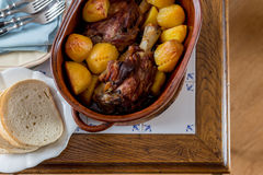 Top view of roasted meat and potatoes Royalty Free Stock Photo