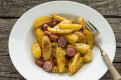 Top view roasted spiced potatoes Stock Photography
