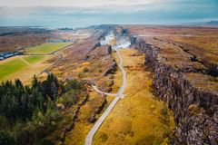 Free Top View Rocky Canyon With Waterfall In Iceland, Autumn Landscape Royalty Free Stock Photography - 159435267