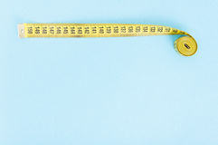 Top view of rolled tape meter royalty free stock image
