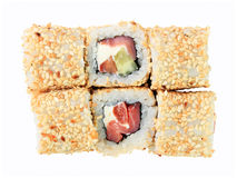Top view of rolls philadelphia with sesame Stock Photos