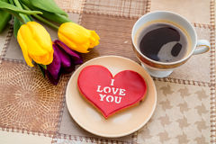 Top view romantic breackfast with flowers Stock Image