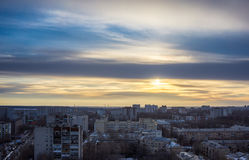 Top view from roof at Voronezh cityscape sunset, hdr photo, city Stock Photo