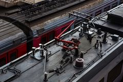 Top view of the roofs of electric trains and the way, diagonal composition. Top view of the roofs of electric trains and the way. Diagonal composition royalty free stock photography