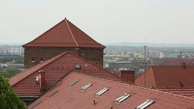 Top view of the roofs in the historic centre of Krakow. stock video