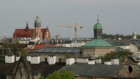 Top view of the roofs in the historic centre of Krakow. stock footage