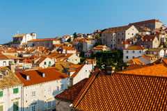 Top view of the roofs of houses in Dubrovnik, Croatia.  Stock Photo