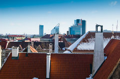 The top view on roofs of houses of Tallinn Stock Images