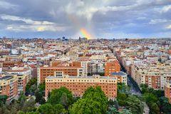 Top view of the rooftops of Madrid and the rainbow after the rain stock photo