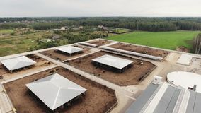 Top view on roofs of modern clean fenced farm with square paddocks for cows. Aerial view of several roofs of houses belonged to modern, clean, fenced farm with stock video