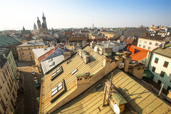 Top view of the roofs of the old town in the centre. It is second largest city in Poland after Warsaw Royalty Free Stock Image