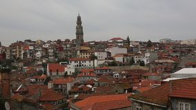 Top View of roofs is the Old Town at Porto, Portugal. stock footage