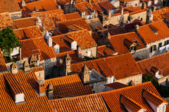 Top view of the roofs with red tiles of European houses in Dubrovnik, Croatia.  Royalty Free Stock Image