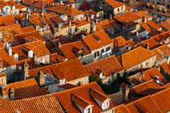 Top view of the roofs with red tiles of European houses in Dubrovnik, Croatia. Top view of the roofs with red tiles of European houses in Dubrovnik, Croatia Royalty Free Stock Images