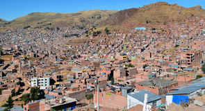 Top view on roofs and streets of Cusco town Stock Image