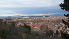 Top view of the rooftops in the historic district of Rome. Italy stock footage