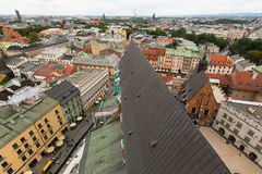 Top view of the rooftops Krakow old town, Royalty Free Stock Image