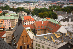 Top view of the rooftops Krakow old town Royalty Free Stock Photos