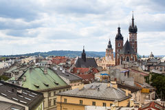 Top view of the rooftops of old Krakow, Poland. Travel. Stock Photo