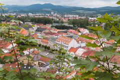 Top view of the rooftops and streets of the city of Trencin in S Royalty Free Stock Photo