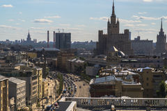 Top view of the rooftops and the traffic on the city streets. Moscow Stock Photo