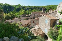 Top view of the rooftops of the village Labeaume in the Ardeche royalty free stock image